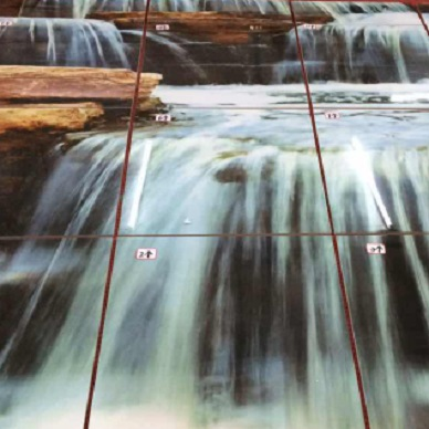3D Glasfliesen, Wasserfall