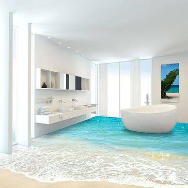 3D strand-badezimmer